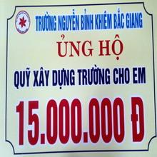 Tiếp nhận kinh phí xây trường của Trường Nguyễn Bỉnh Khiêm – Bắc Giang